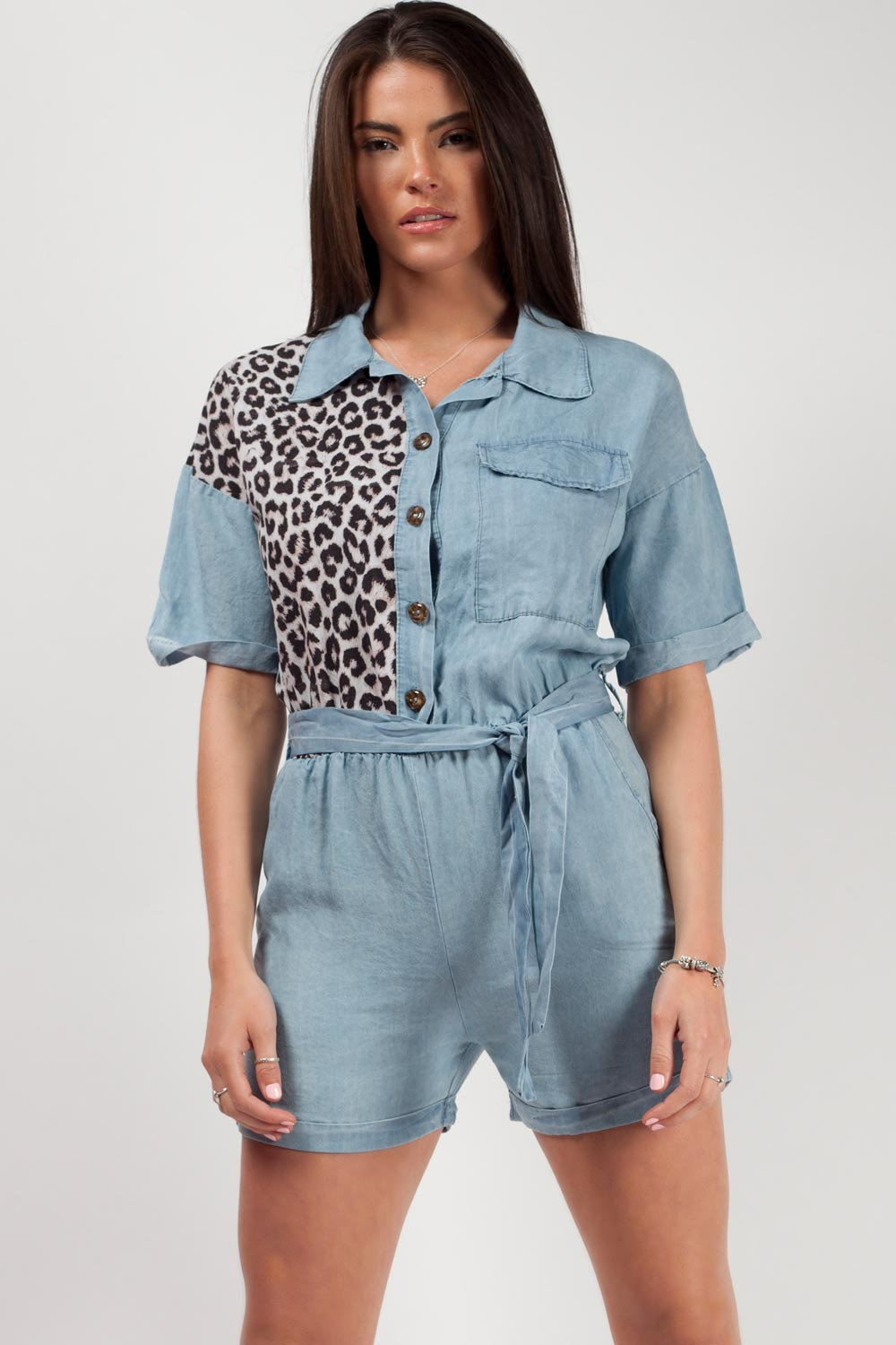 light wash denim playsuit