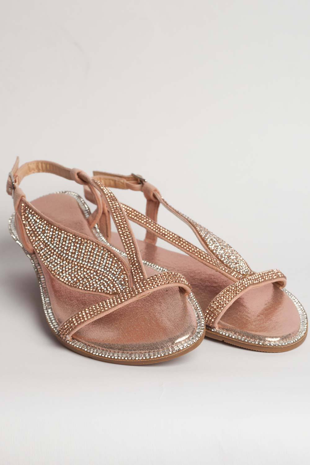 bccb15772dde Rose Gold Flat Diamante Sandals – Styledup.co.uk
