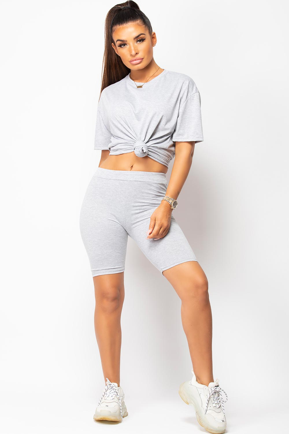 grey t shirt and shorts two piece set womens