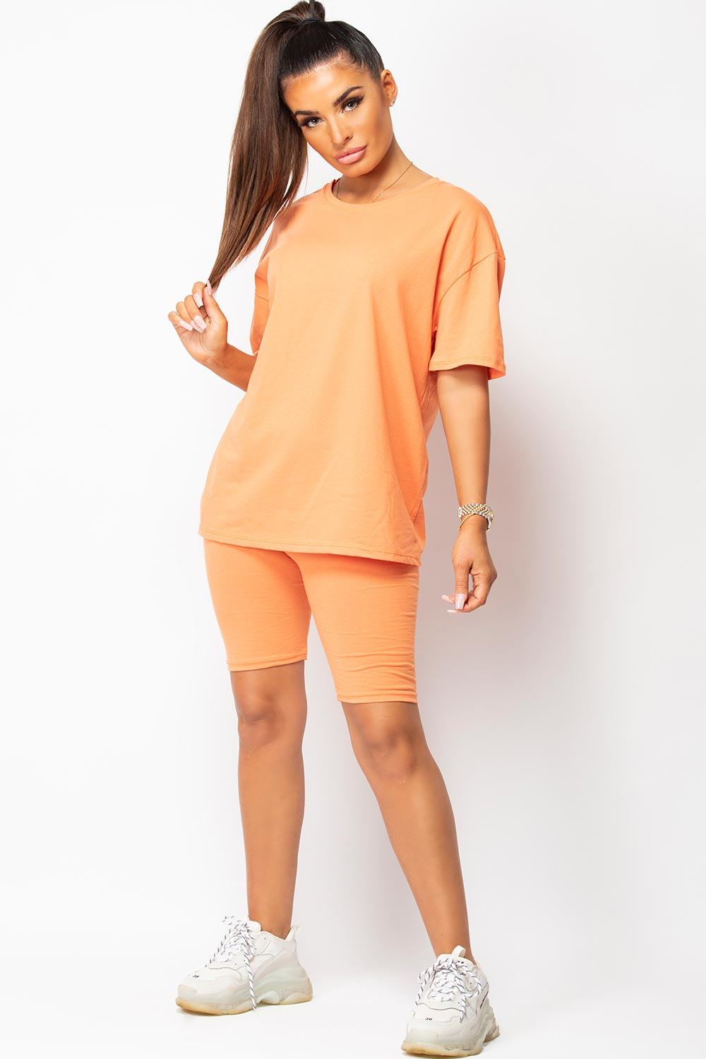 orange t shirt and cycling shorts lounge set