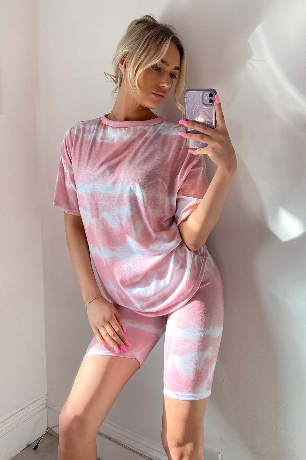 pink tie dye t shirt and cycling shorts set