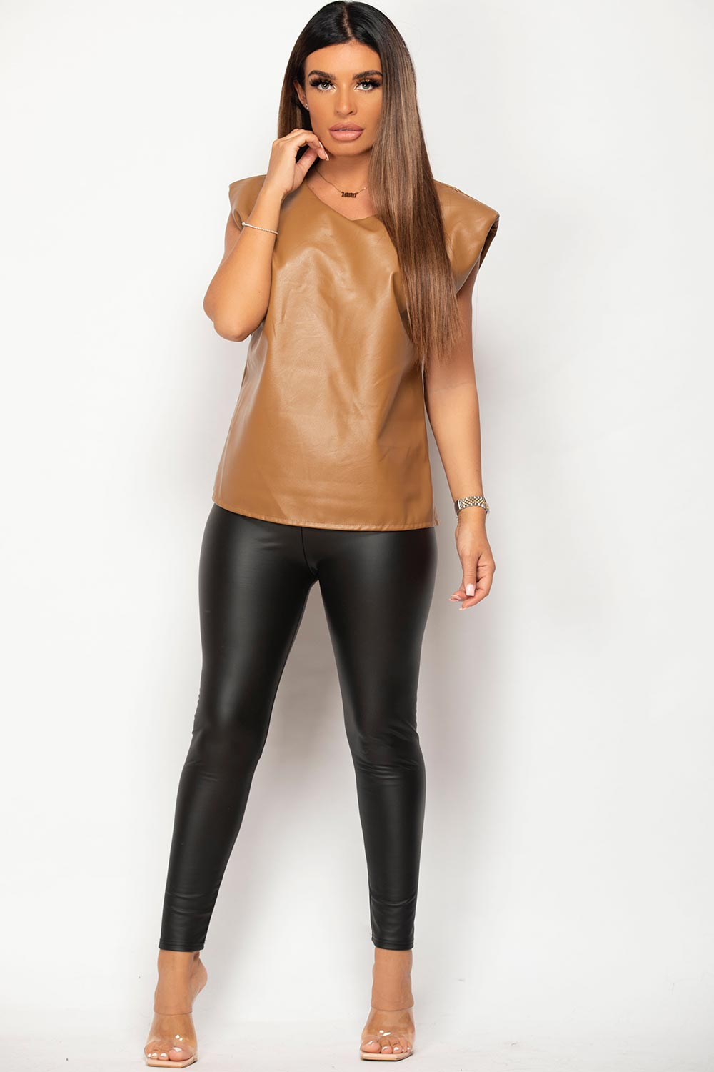 padded shoulder faux leather top tan