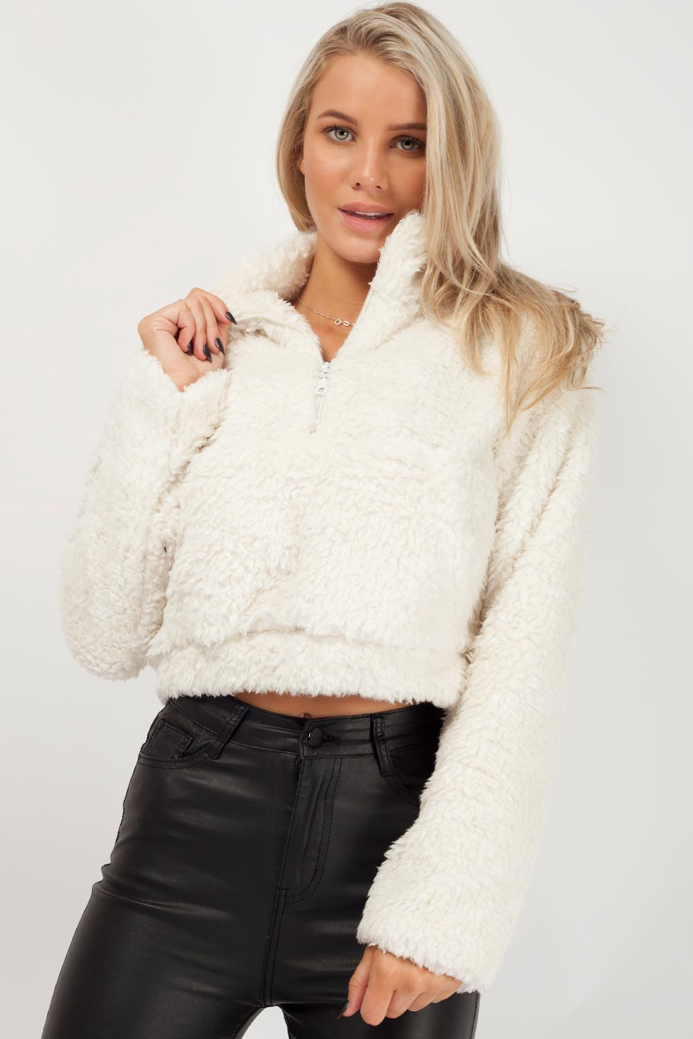 teddy fur jacket cream