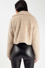 cropped teddy coat brown