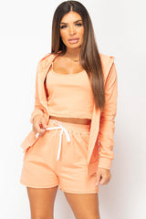 orange top shorts and hoodie lounge set
