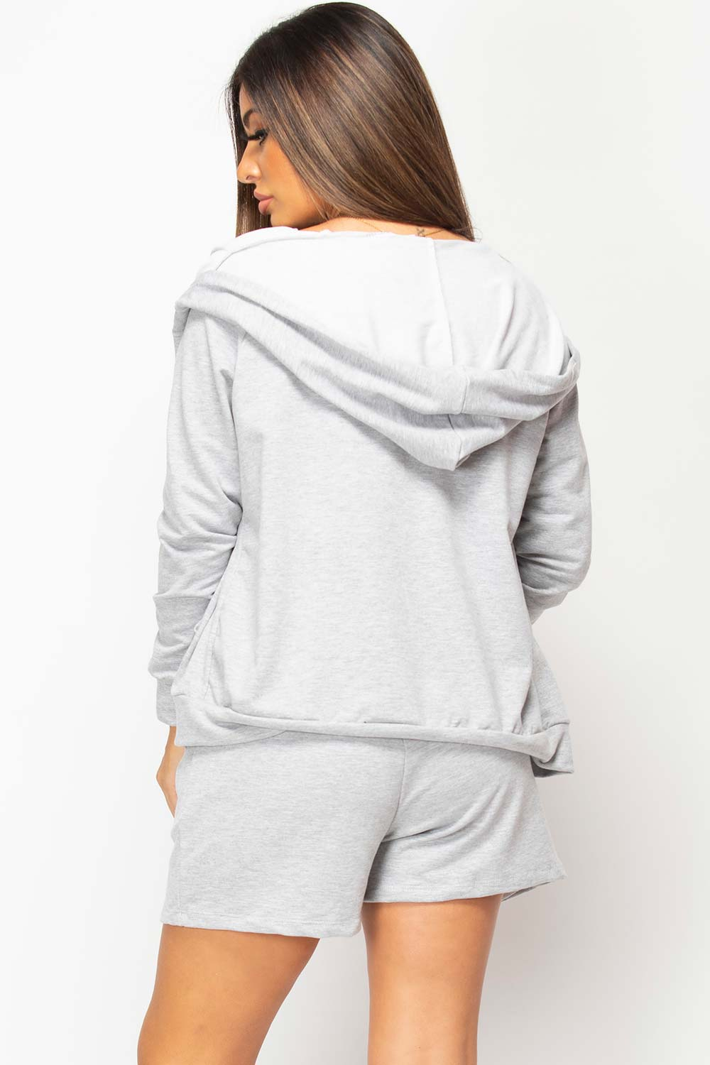 grey three piece shorts loungewear set