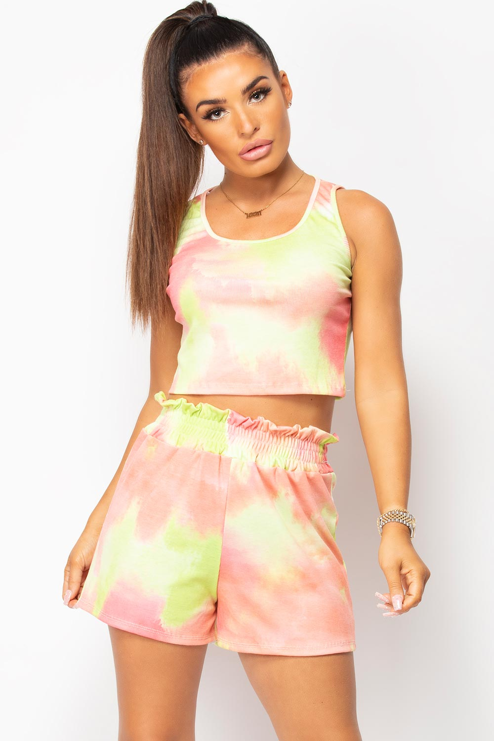 tie dye top and shorts set uk