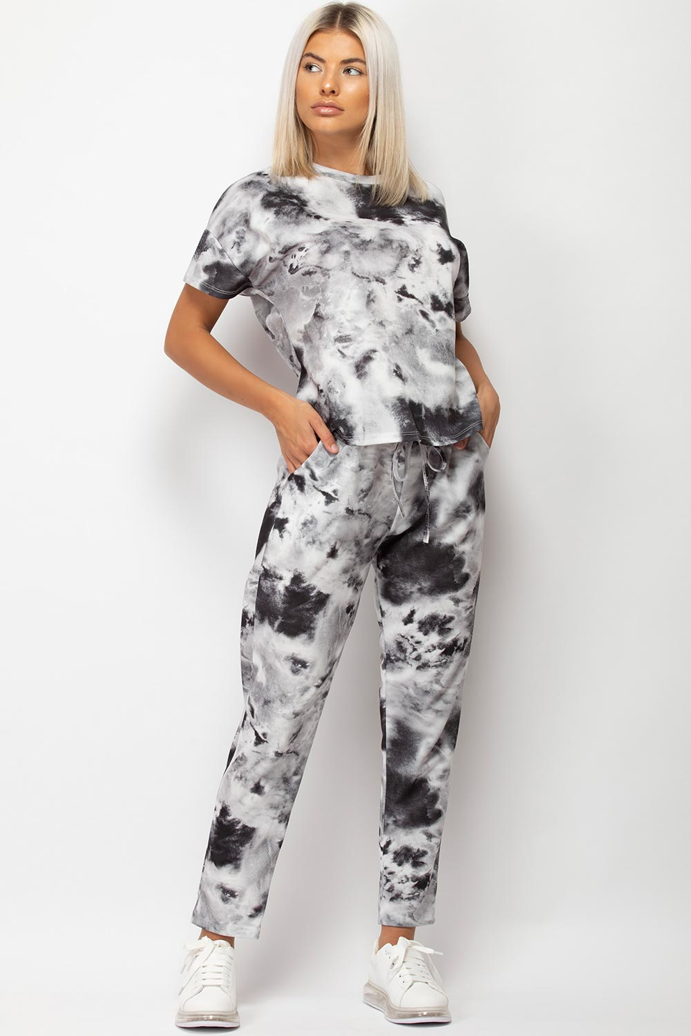 Tie Dye Loungewear Set Black And White