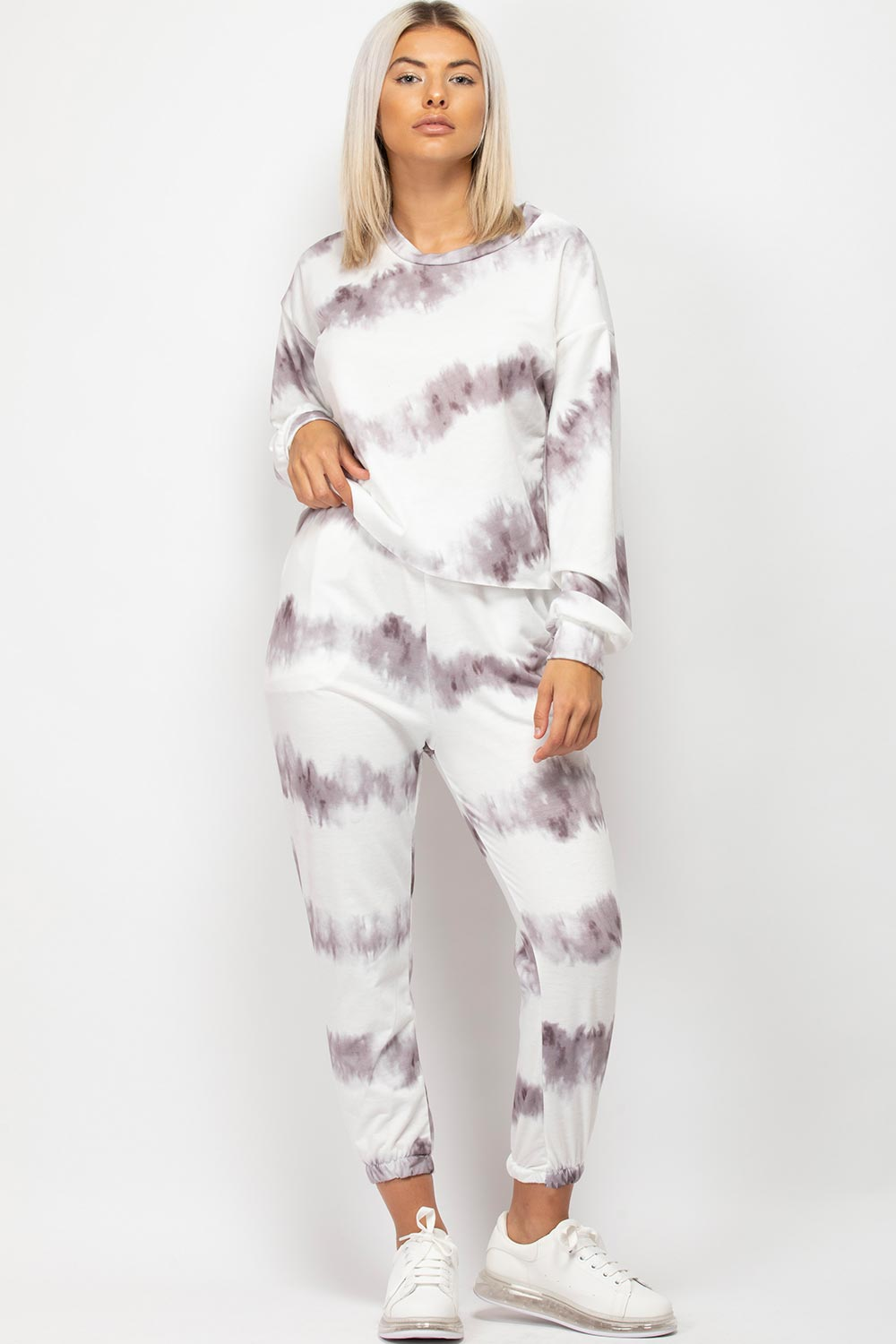 grey tie dye loungewear set