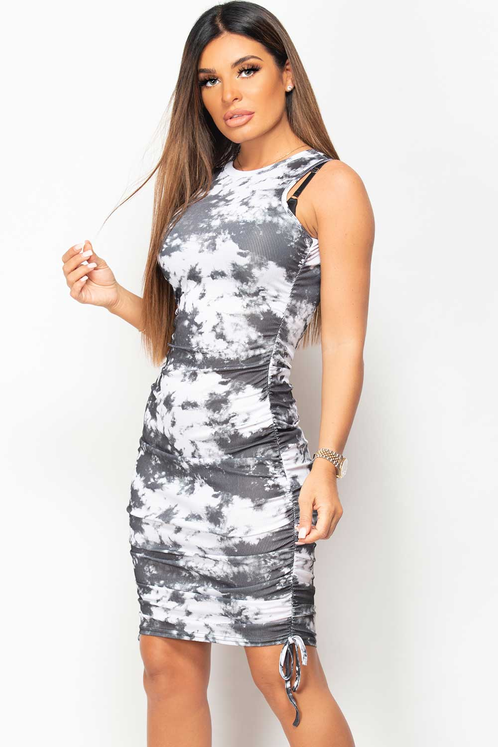 tie dye ruched bodycon dress