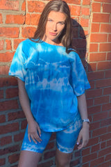 tie dye t shirt cycling shorts lounge set styledup fashion