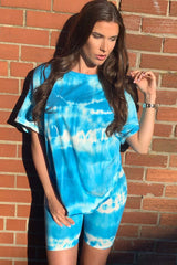 tie dye t shirt cycling shorts loungewear set uk