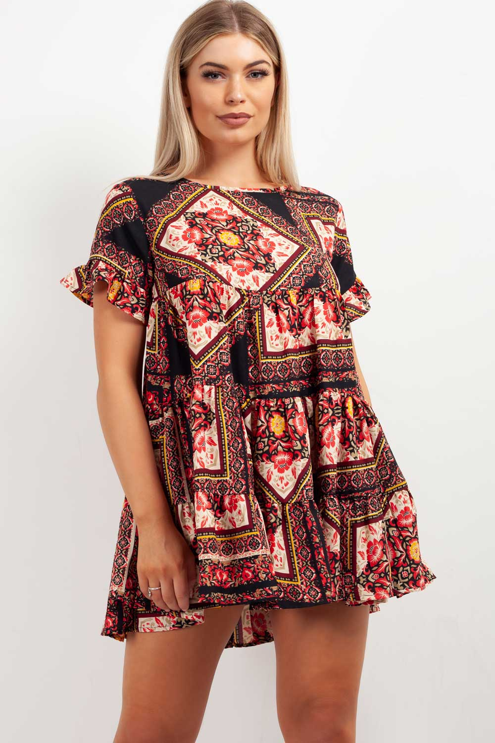 tiered smock dress scarf print