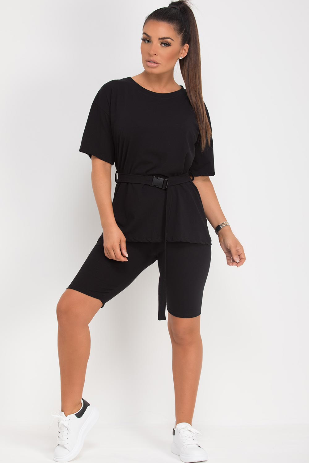 black cycling shorts top with utility belt set