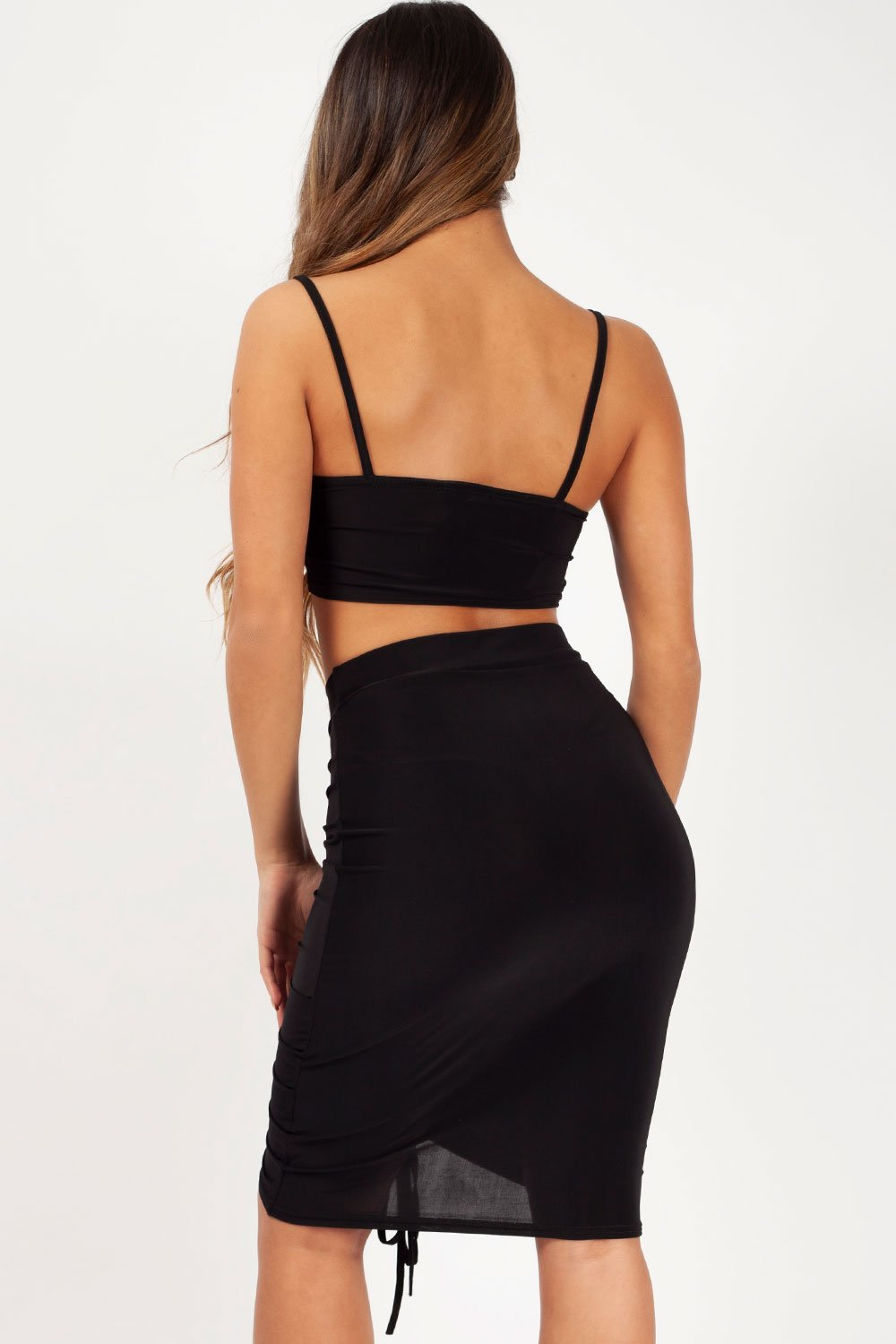 skirt and crop top set black