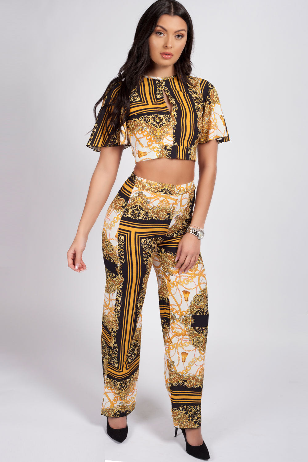 Gold Scarf Print Co ord