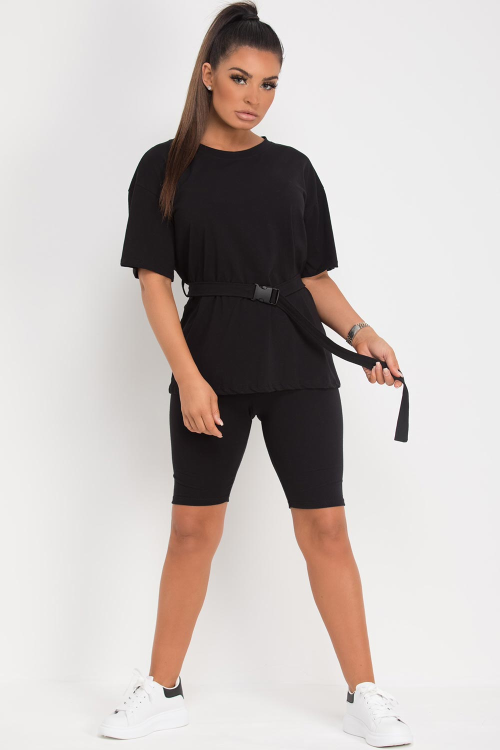 utility belt top and cycling shorts set black