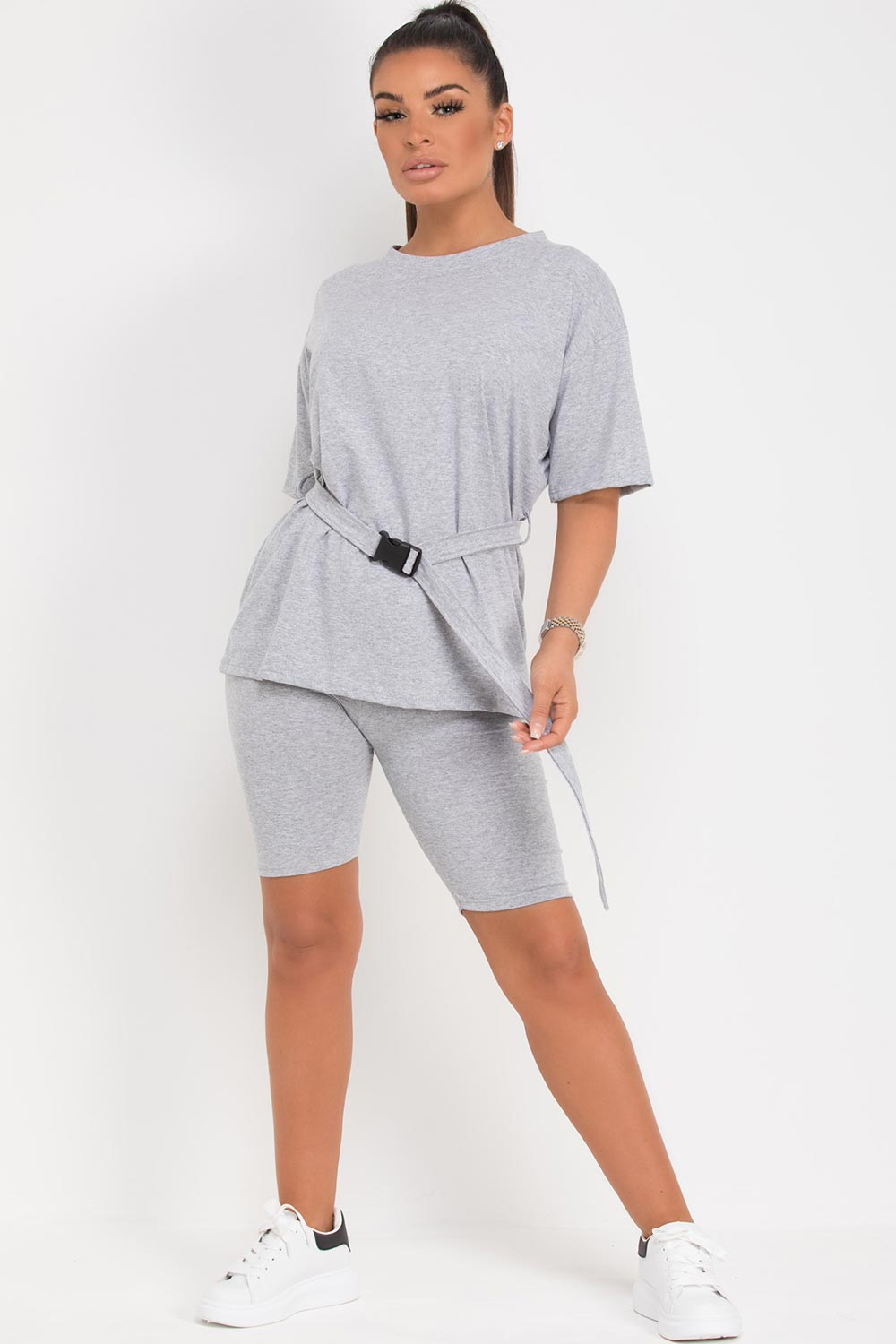 grey oversized top with utility belt cycling shorts set