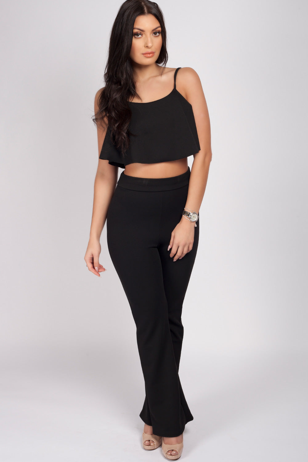 black top and trousers set