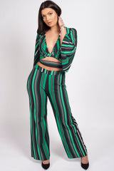 Long sleeve crop top trousers set