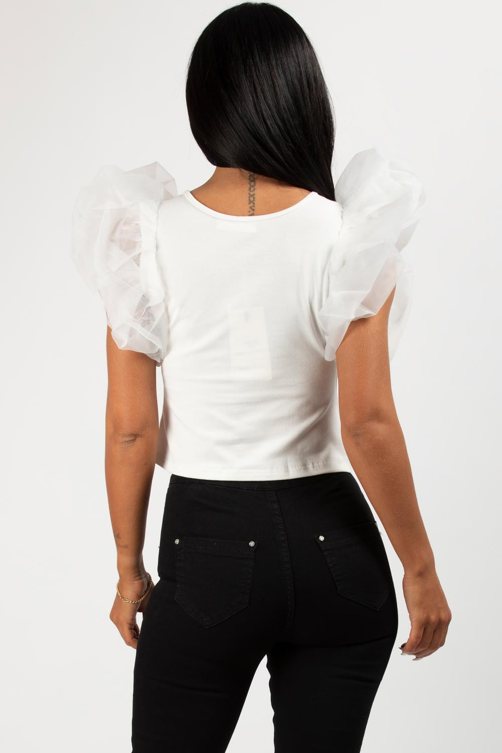 white organza sleeve top