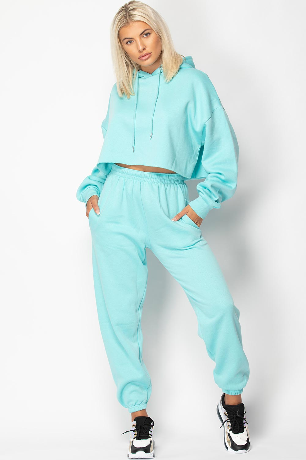 turquoise joggers and crop hoodie lounge set