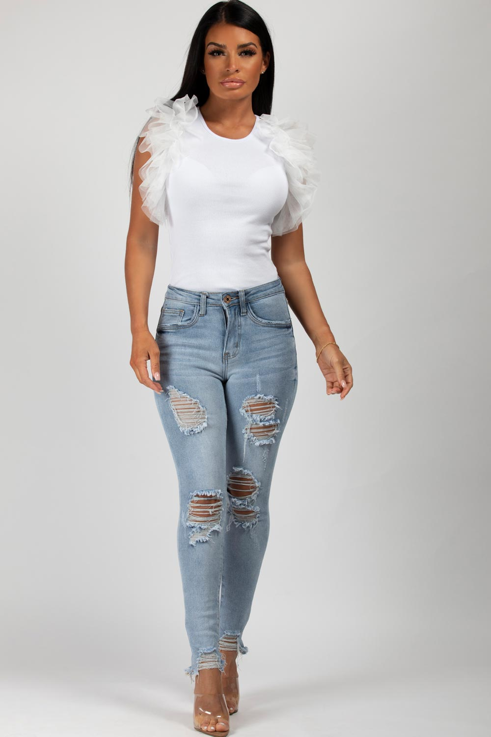 white ruffle sleeve bodysuit