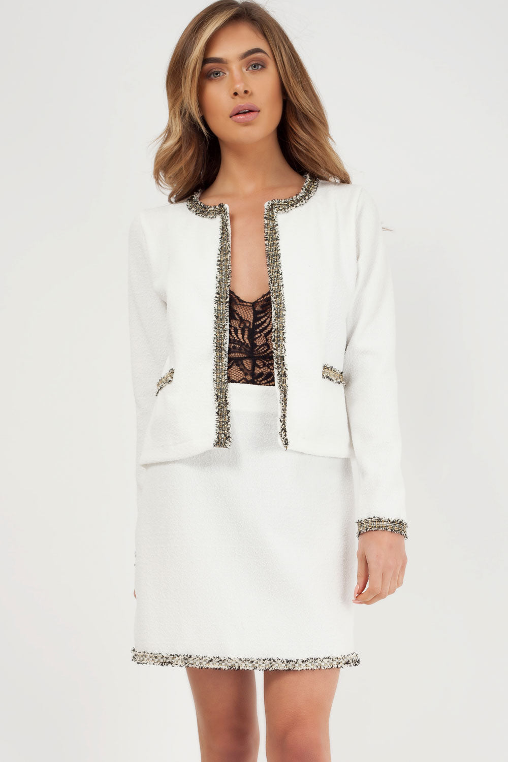 tweed blazer and skirt set white styledup fashion