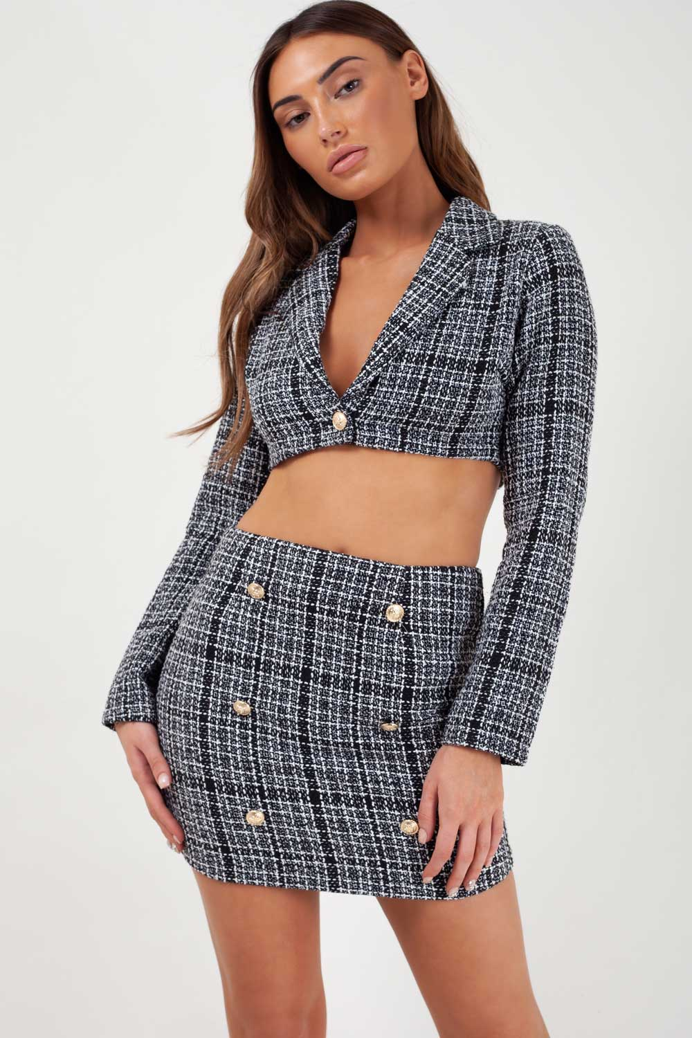 blazer and skirt two piece set