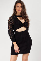 black jumper dress with twist front