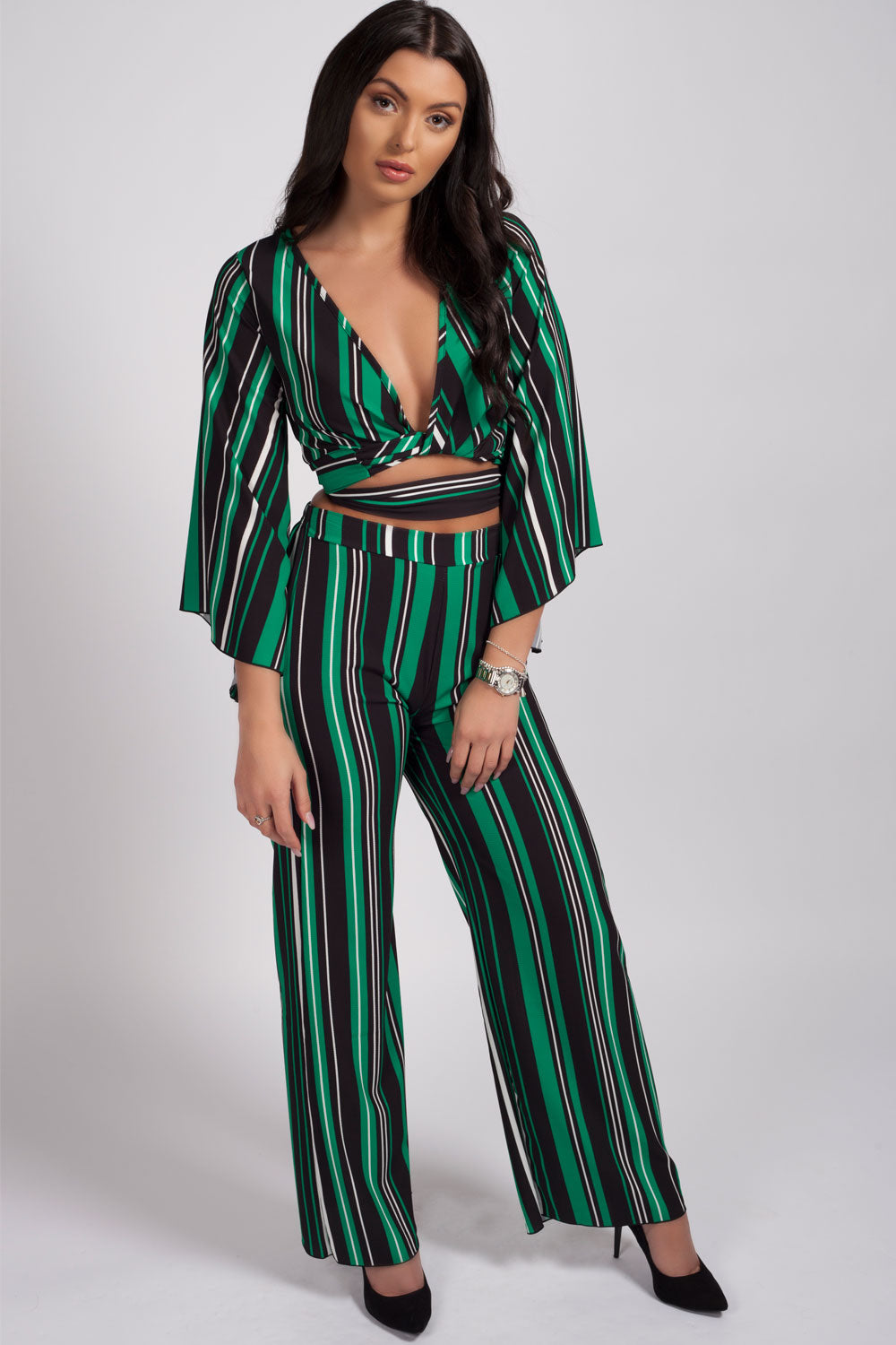 Stripe wide leg trouser set green