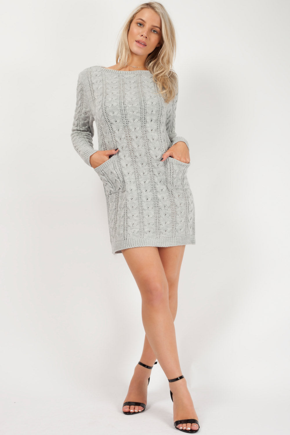 grey long sleeve sweater dress uk