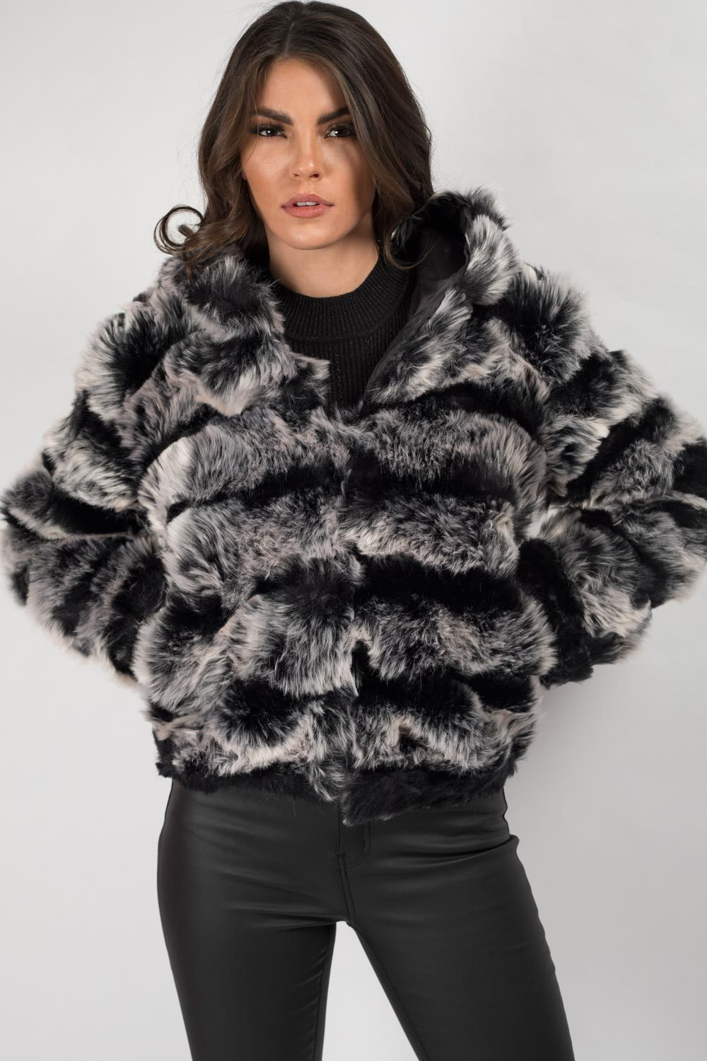 faux fur hooded jacket womens