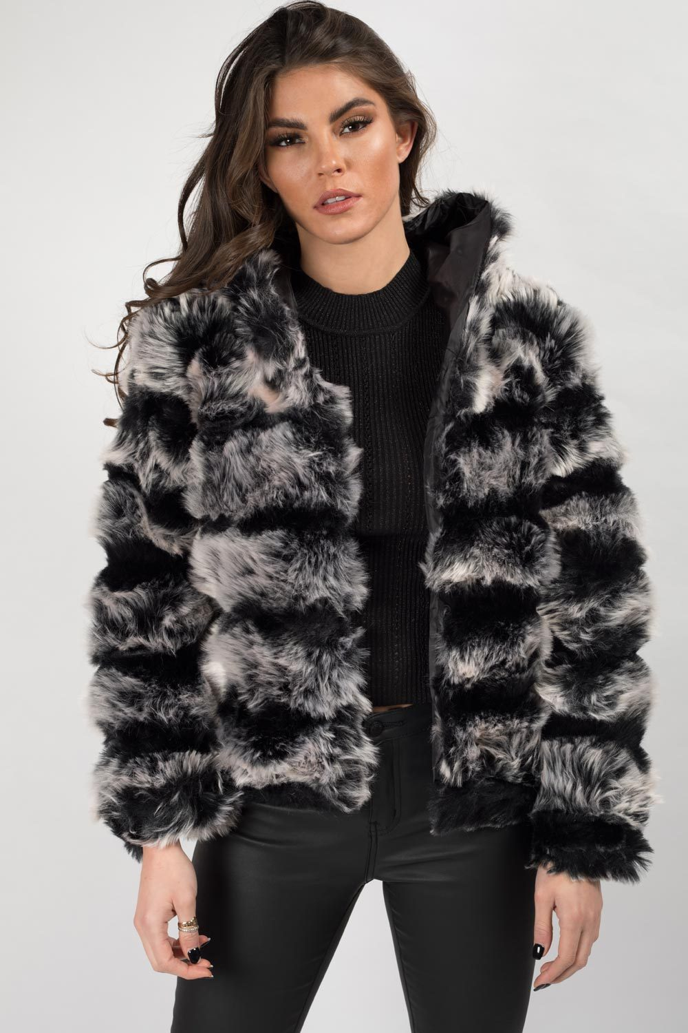 two tone faux fur hooded coat