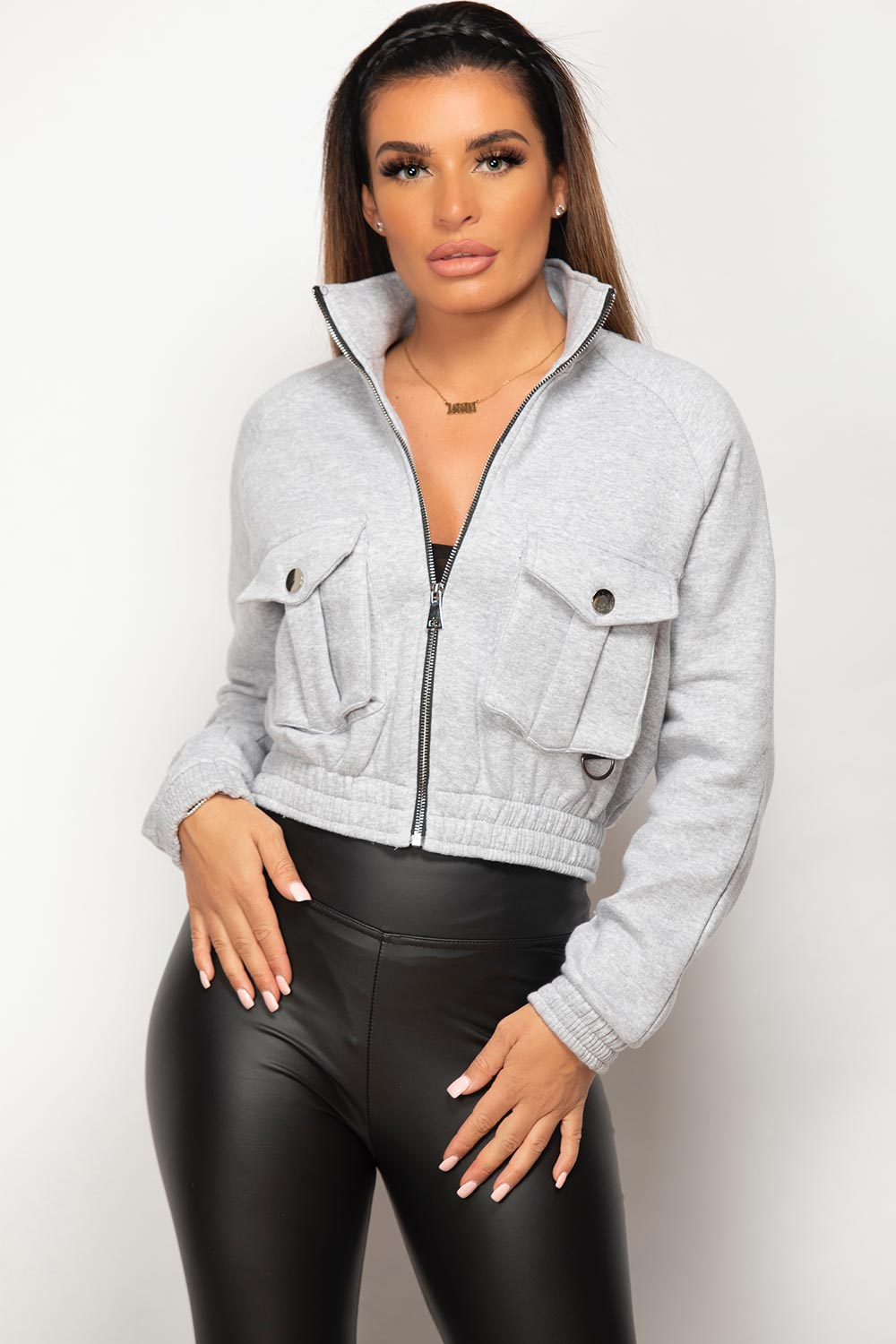 front pocket crop jacket