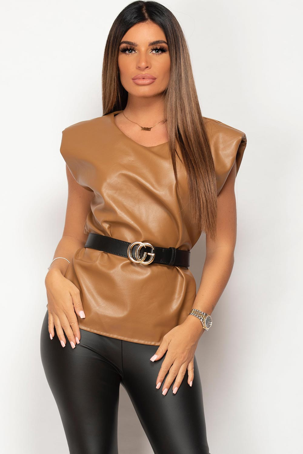 vegan leather padded shoulder top
