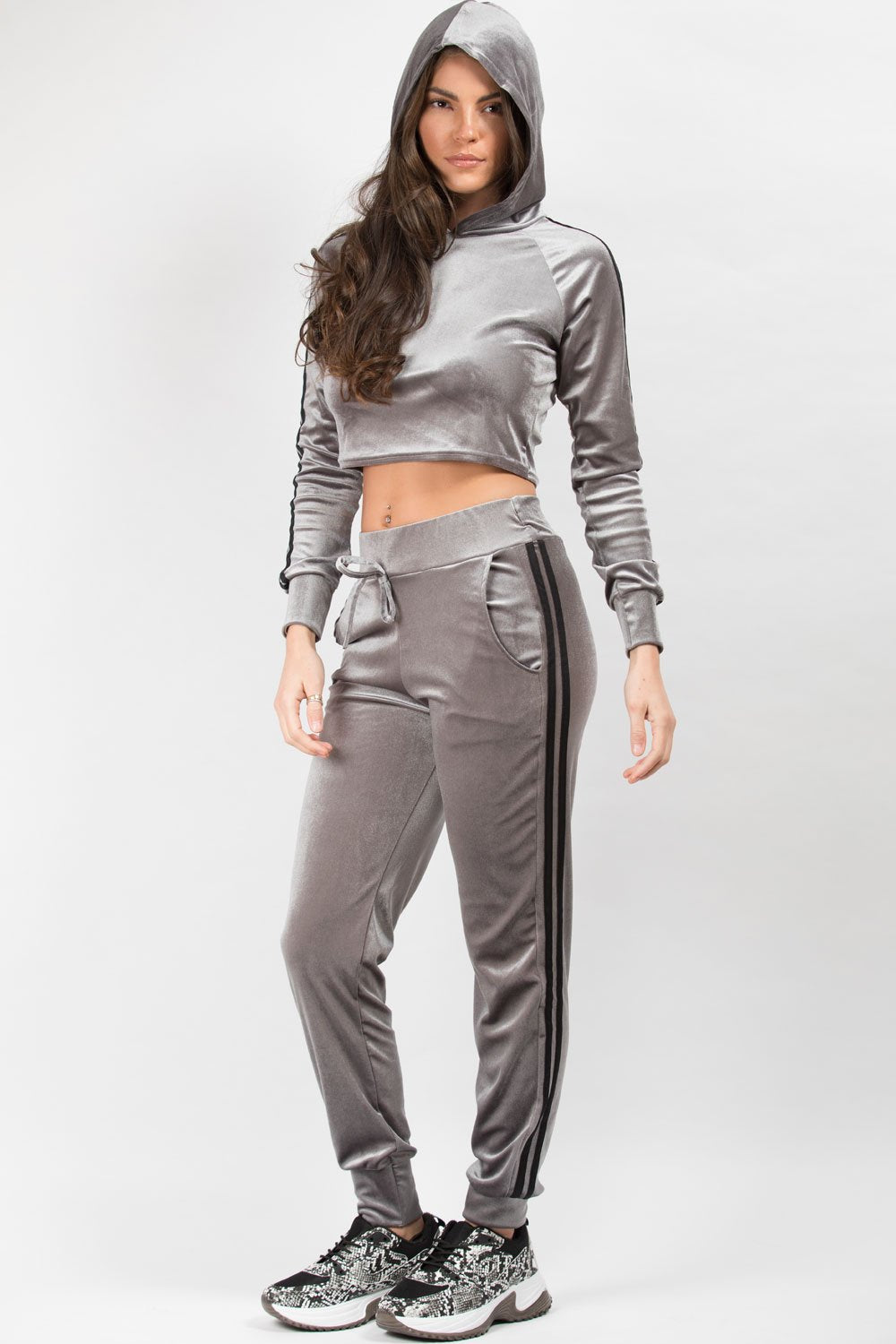 velour hoodie and joggers co ord set grey