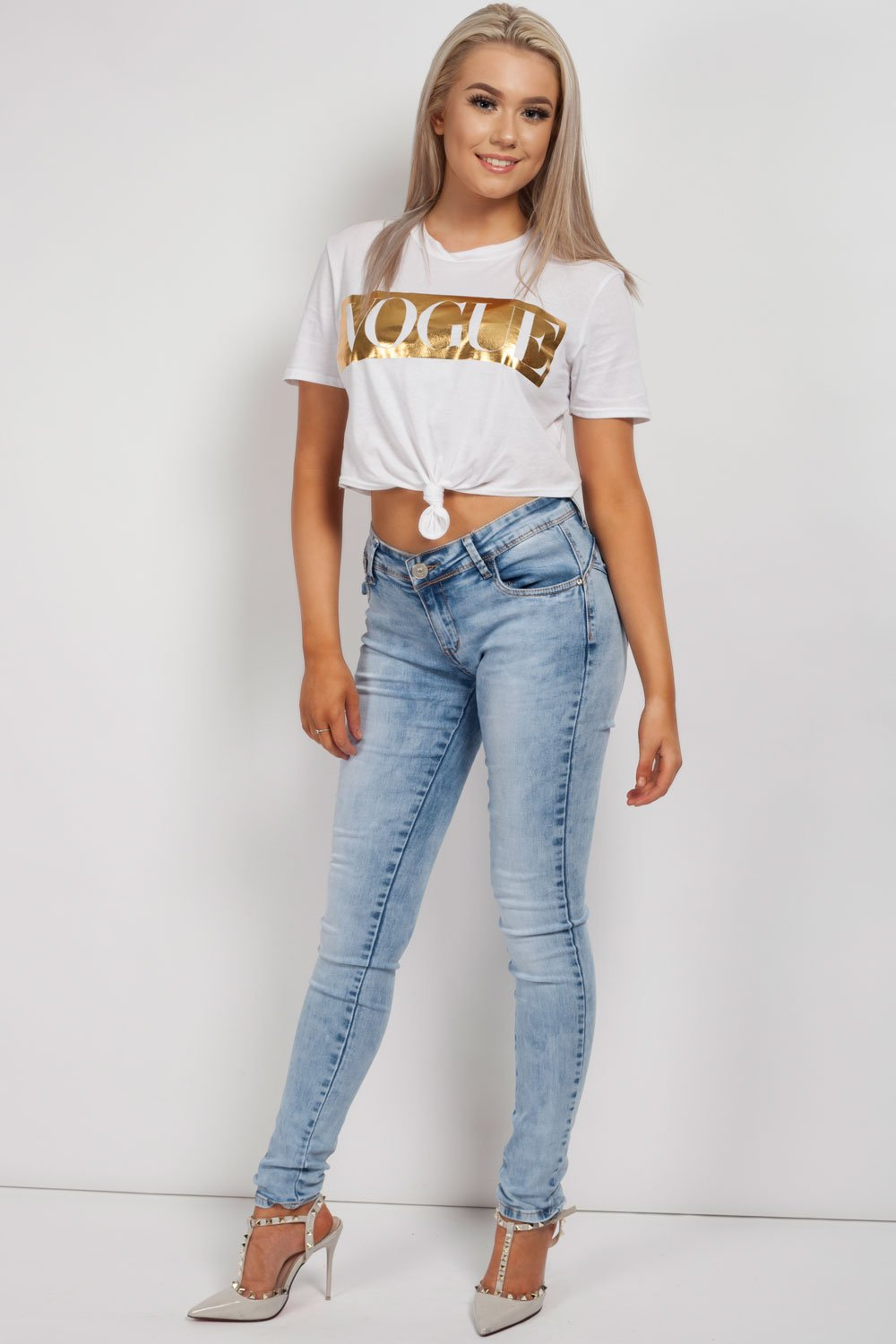 vogue cropped top white