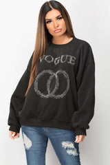 black sweatshirt with diamante studded detail