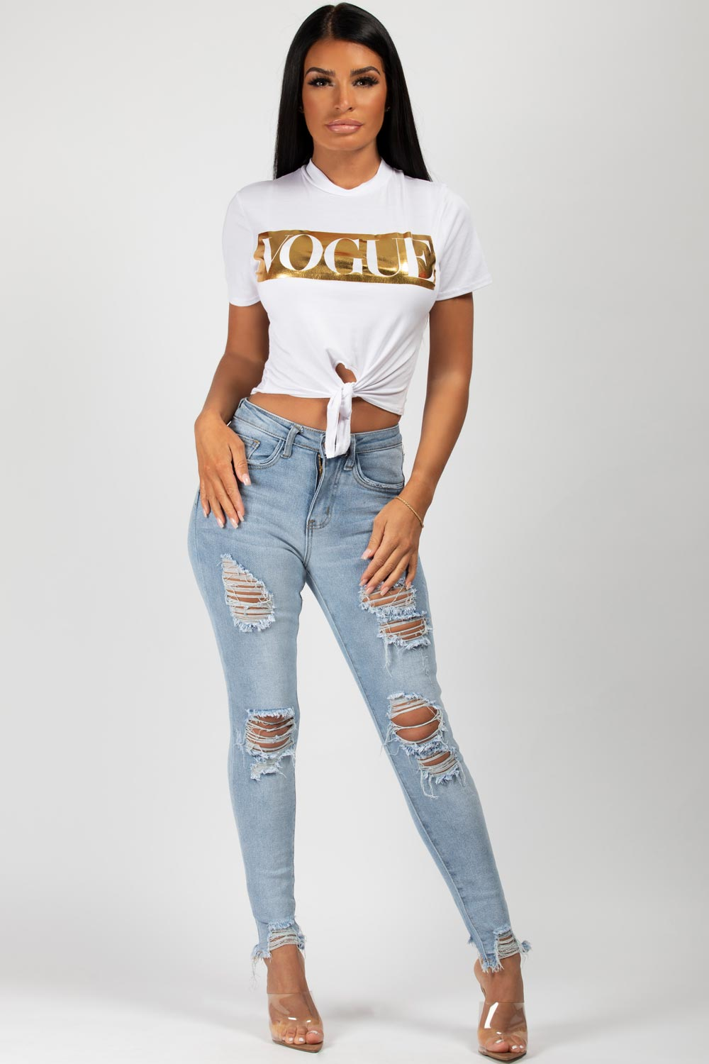 Vogue Slogan Crop Top