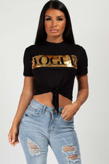 Vogue Slogan Crop Top Black