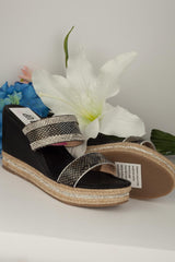 wedge sandals black  size 8