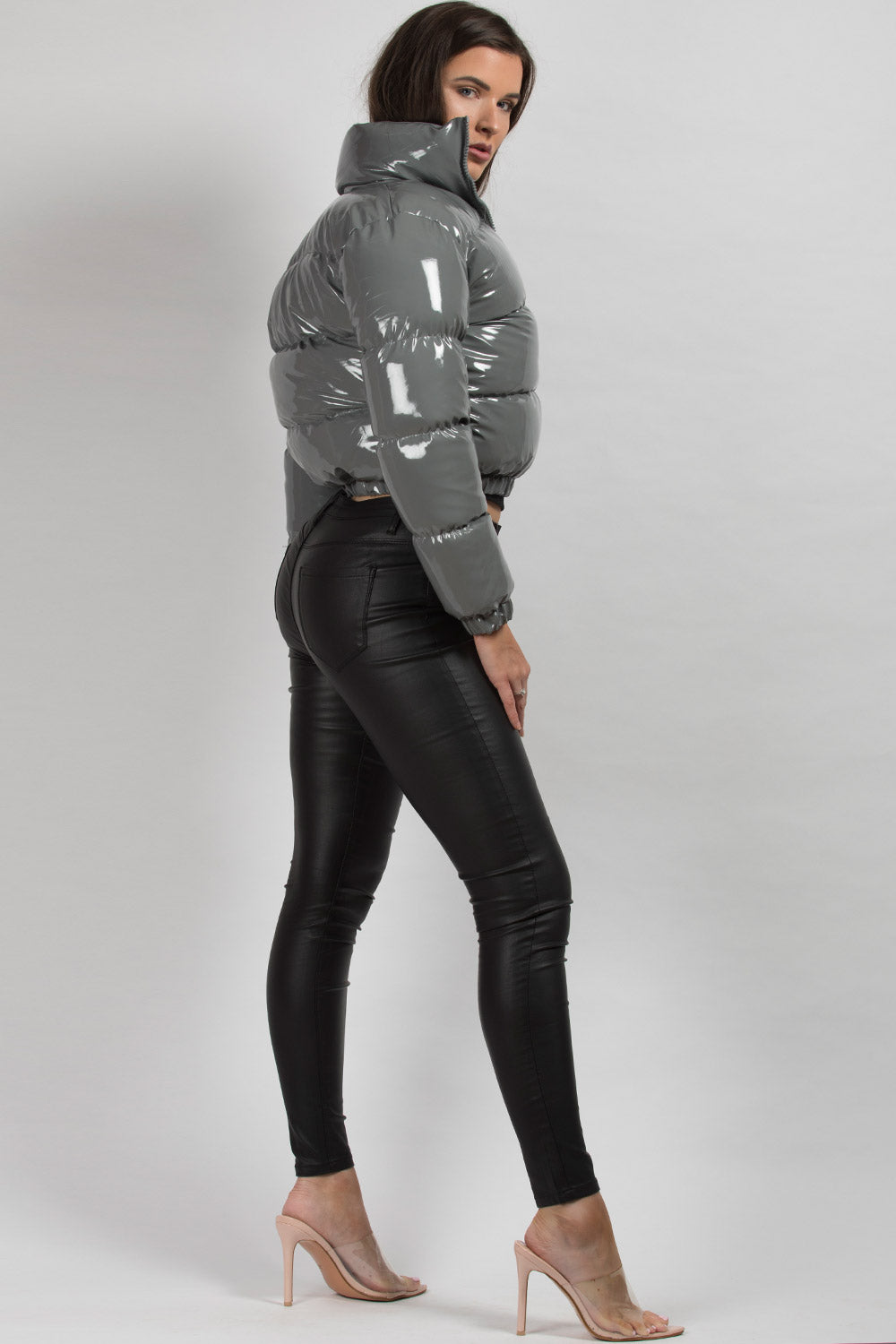wet look shiny puffer jacket cropped grey