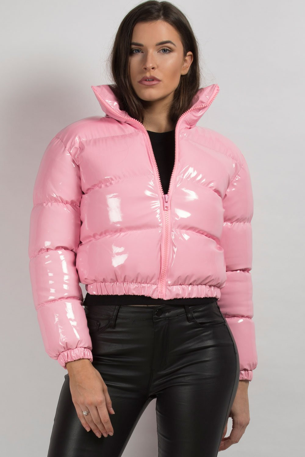 pink shiny puffer jacket cropped