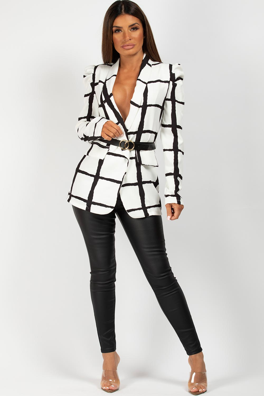 puff sleeve blazer with double circle belt