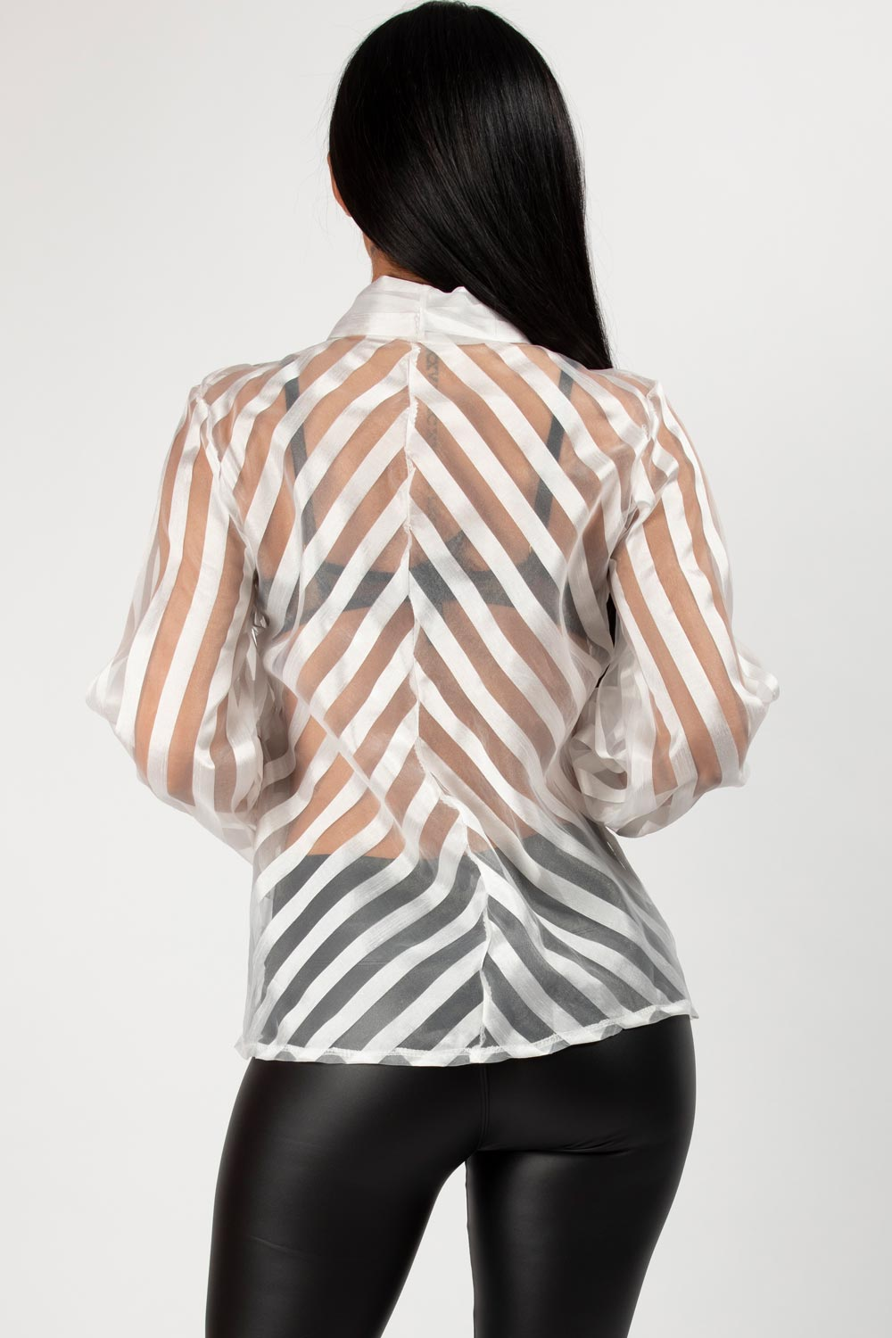 white stripe organza top