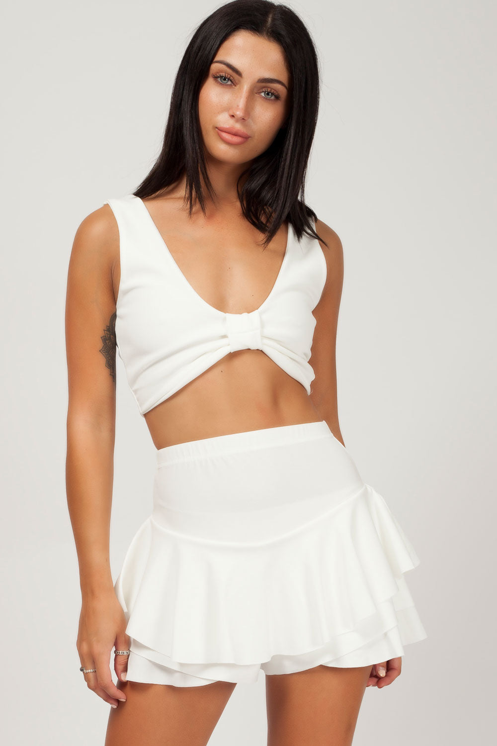 knot front crop top white