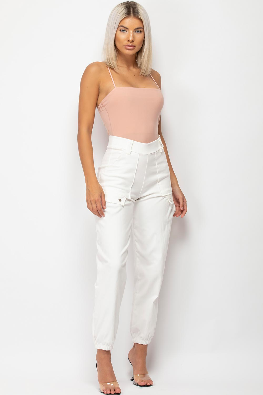 womens white cargo trousers