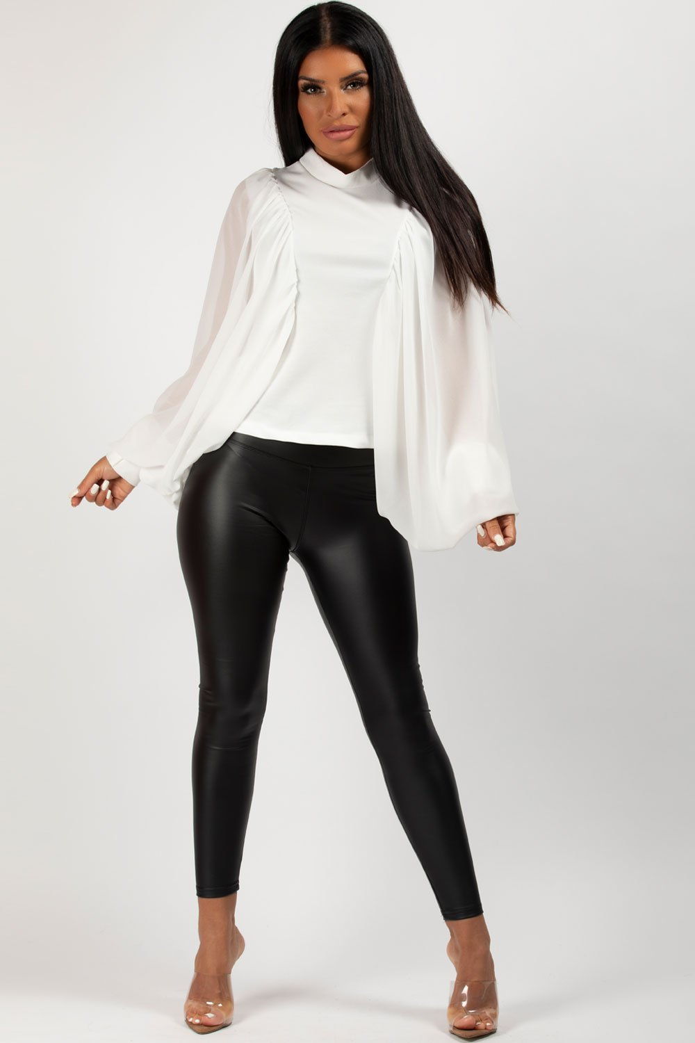 white dressy long sleeve top