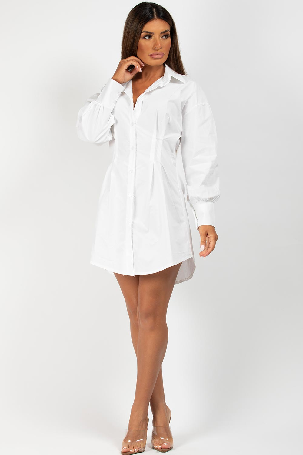 white cinched waist corset shirt dress